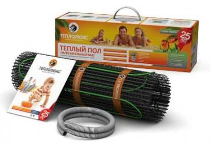 Мат для теплого пола ТЕПЛОЛЮКС TROPIX  МНН1455-10,5 двужильный. Площадь укладки - 10,5 кв.м,. Длина кабеля - 21,0 м. Мощность - 1455 Вт.