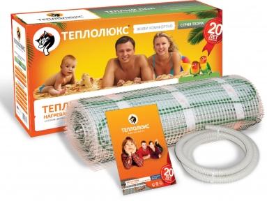 Мат для теплого пола ТЕПЛОЛЮКС MiNi  МН2300-15,3 одножильный. Площадь укладки - 15,3 кв.м,. Длина кабеля - 30,6 м. Мощность - 2300 Вт.